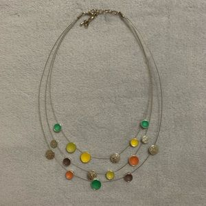 Multi Colored & Silver Circle Necklace